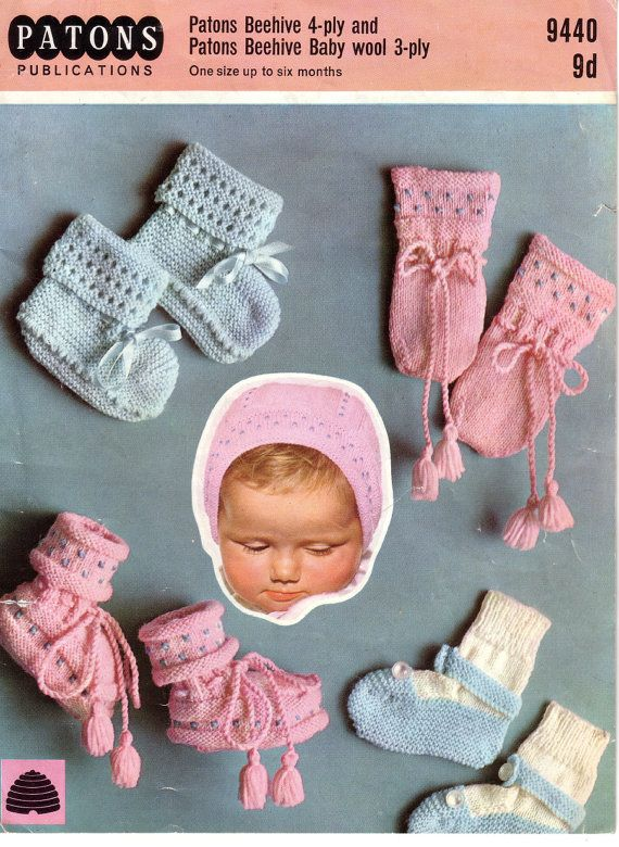 Vintage PDF Baby Knitting Pattern - Patons 9440 - bonnet booties ...