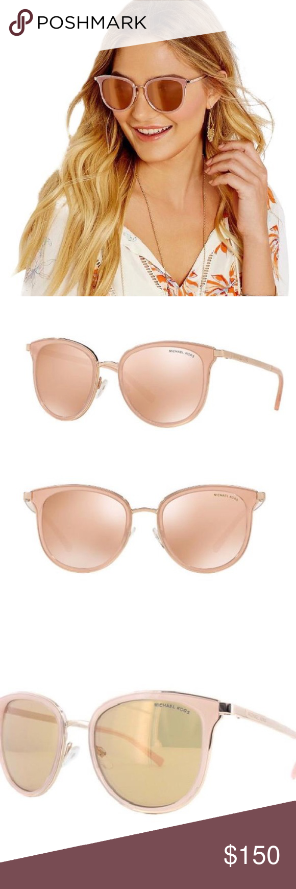 6f878be60b Michael Kors Pink   Rose Gold Adriana Sunglasses Brand new! Authentic Michael  Kors Adriana pink