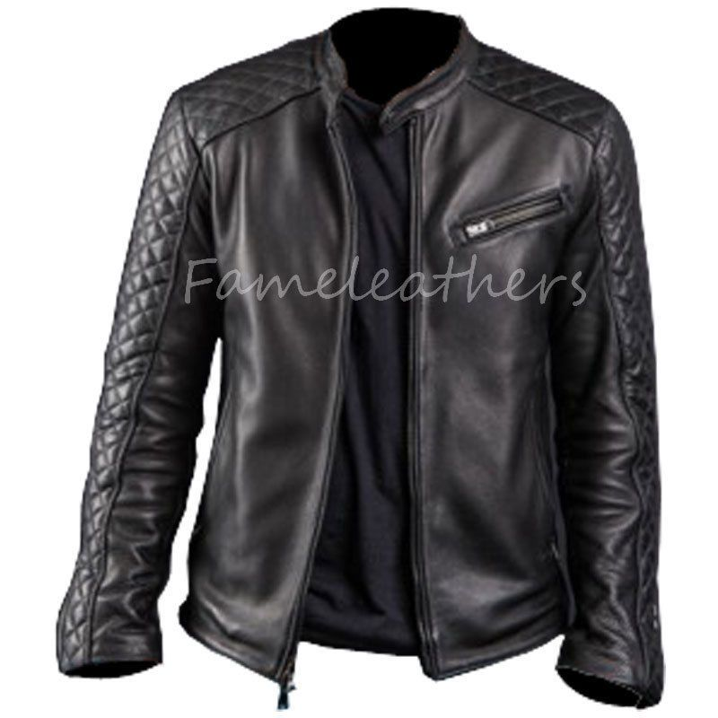 New Mens Diamond Classic Style Motorcycle Black Leather Jacket