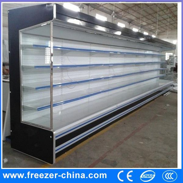 Supermarket Open Air Curtain Vegetable Display Cooler Used