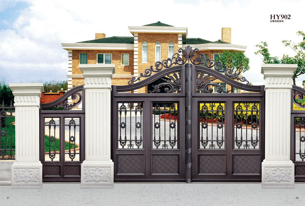 Hy 902 unique exterior house gate designs buy gate for Main gate door design