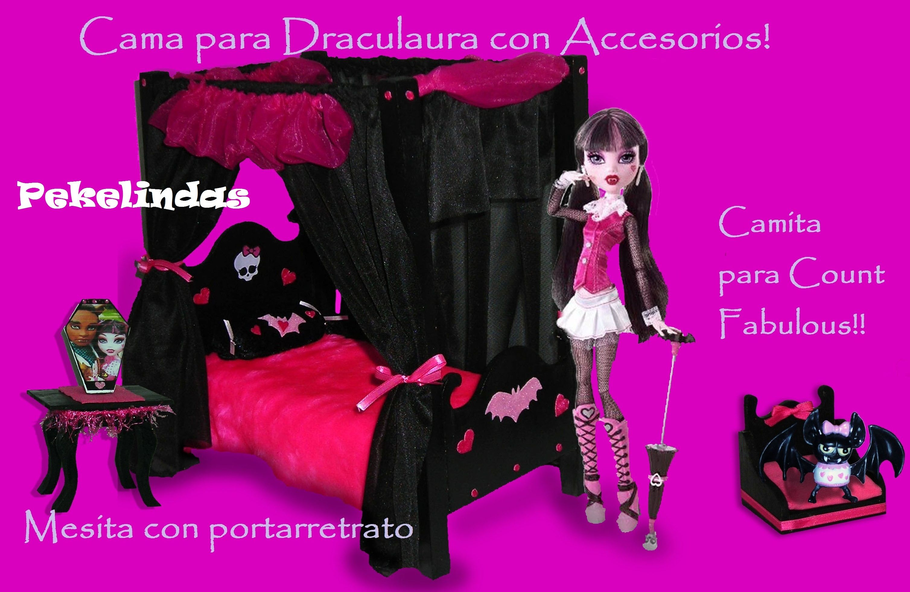 Nueva cama con accesorios para draculaura camitas para - Camas monster high ...