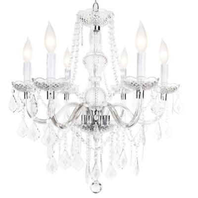 Hampton bay maria theresa 6 light chrome chandelier maria theresa hampton bay maria theresa 6 light chrome and clear acrylic chandelier c873ch06 the home depot aloadofball Images