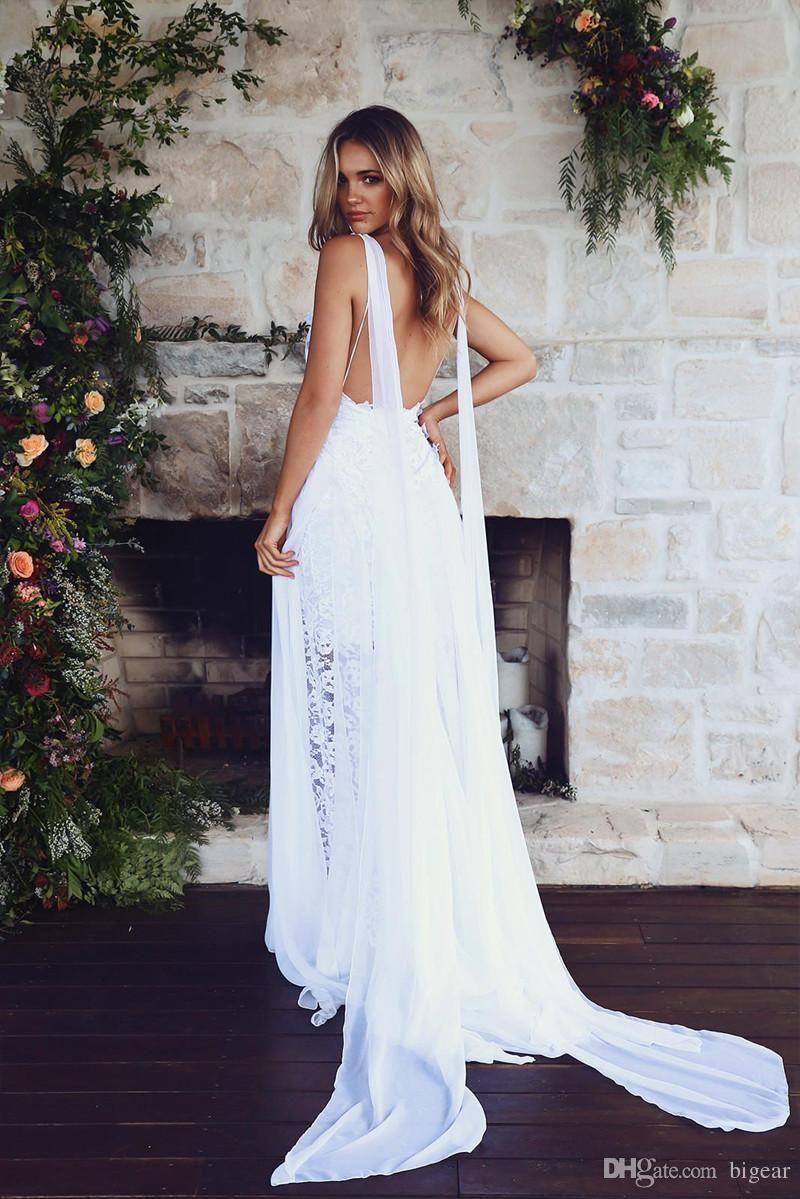 Discount Luxury Chiffon Lace Summer Beach Wedding Gown Boho Bridal ...