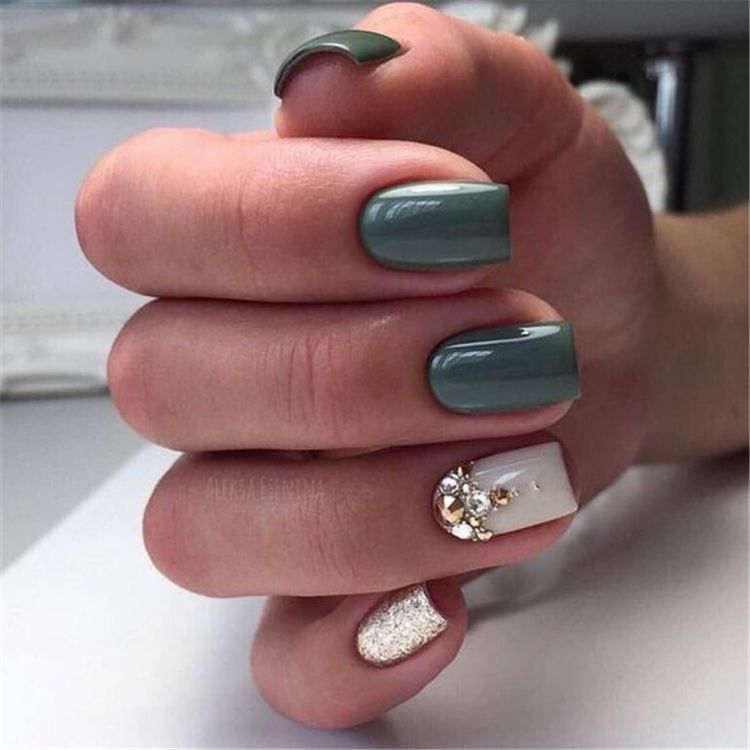 50 Gorgeous And Lovely Spring Square Nail Designs For You Women Fashion Lifestyle Blog Shinecoco Com In 2020 Green Nail Designs Nail Designs Summer Square Nails
