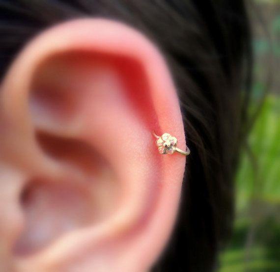 Tragus Earring - Flower Tragus Hoop - Helix Nose Ring Hoop - Cartilage Earring - 14K Solid Rose Yellow White Gold Flower 7mm Inner Diameter #nosering