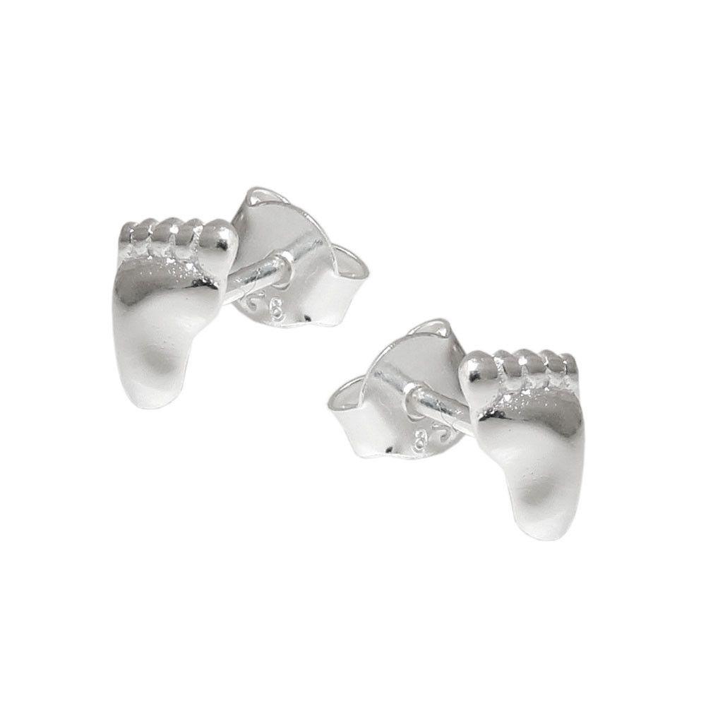 stud earrings right & left foot silver 925