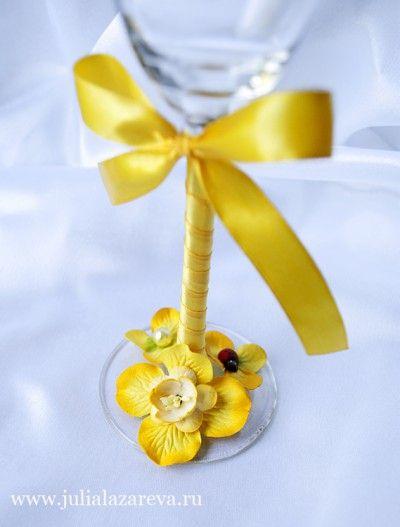 """Бокалы """"Солнечное лето"""" #wedding #weddingdecor"""