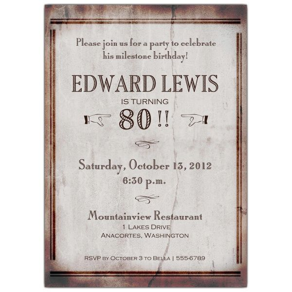 Download 80 Years Old Birthday Invitations