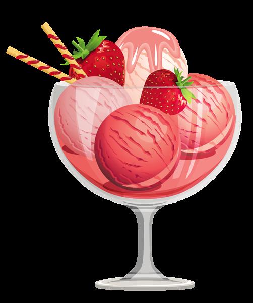 Sorvetes Dessert Illustration Ice Cream Sundae Strawberry Ice Cream