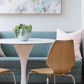 Blue and Pink Abstract Art with Blue Dining Banquette