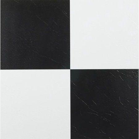 Achim Tivoli Black & White 12x12 Self Adhesive Vinyl Floor Tile - 45
