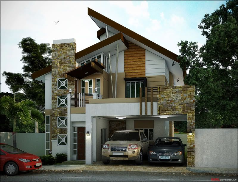 Modern 2-storey residential house: I like the mix of ...