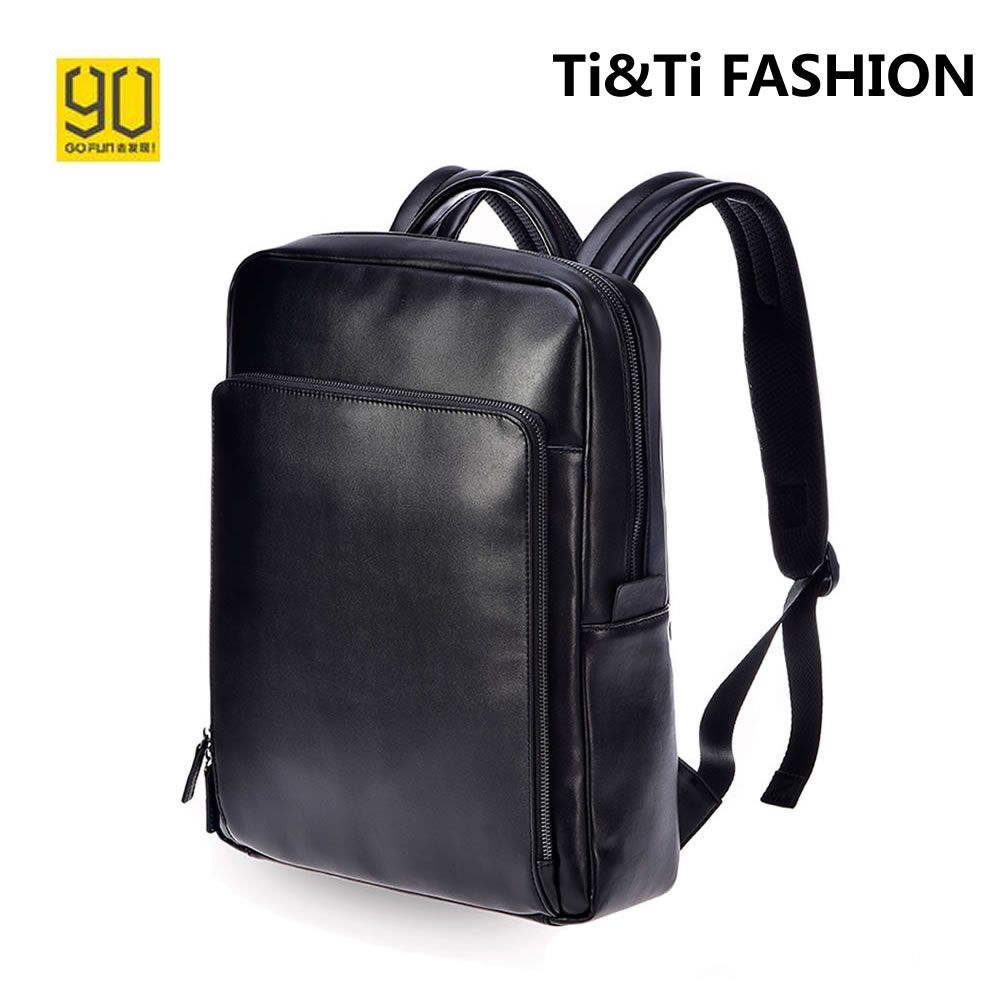 a545baa0a5 Black Bag Genuine Leather 90 Points Mi Backpack Business Simple Urban  Lifestyle Backpacks for Boys Schoolbag for 14 inch Laptop
