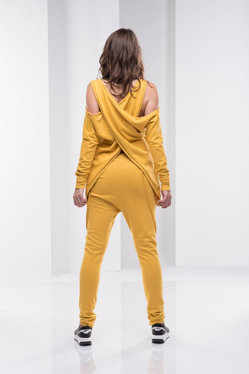 Photo of Asymmetric Yoga Top, Plus Size Clothing, Convertible Top, Sportswear For Women, Mustard Yellow Top,Plus Size Top, Women Active Wear Clothing