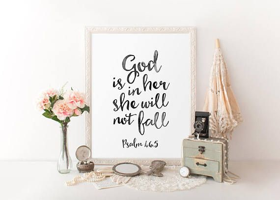 Watercolor calligraphy god is in her she will not fall psalm