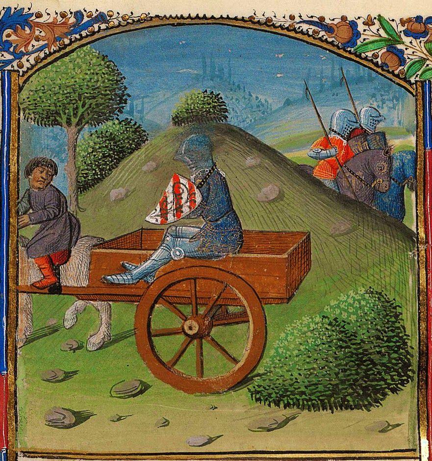 Lancelot et l 39 humiliation de la charrette enluminure - Lancelot chevalier de la table ronde ...