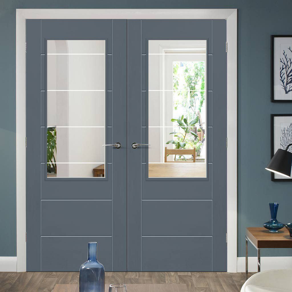 Pre-finished Palermo Oak 2XG Door Pair - Clear Etched Glass - Choose Your Colour & Pre-finished Palermo Oak 2XG Door Pair - Clear Etched Glass - Choose ...