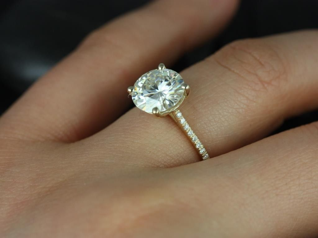 Rosados Box Eloise 9mm Yellow Gold Round Fb Moissanite And Diamonds  Cathedral Engagement Ring