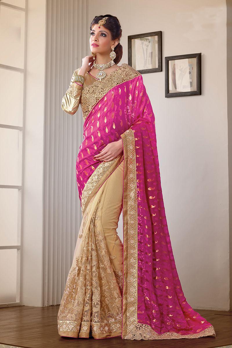 Pink Color Heavy Work Wedding Bridal Designer Saree From Skysarees