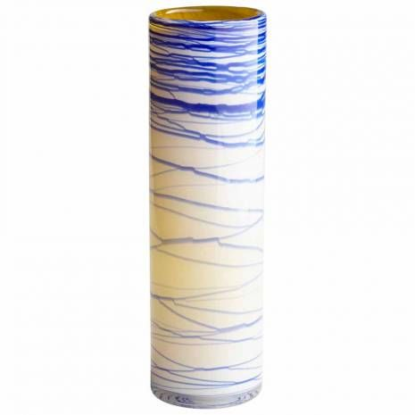 Large Blue And Yellow Cylindrical Glossy Glass Vase Large Glass