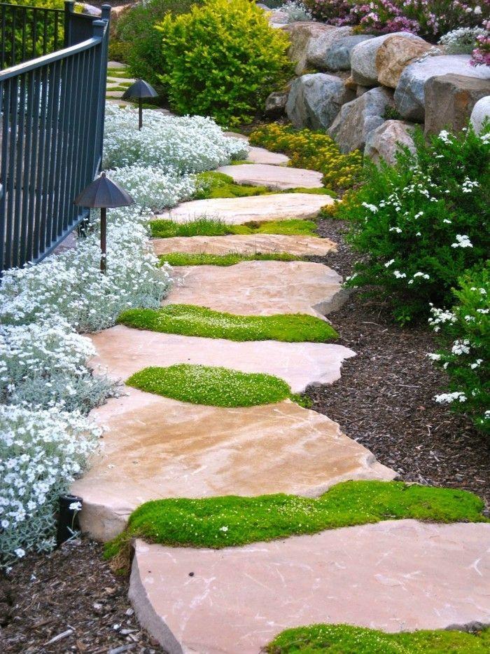steingarten anlegen schöner gartenweg und ausgefallene dekoideen - gartengestaltung mit steinen