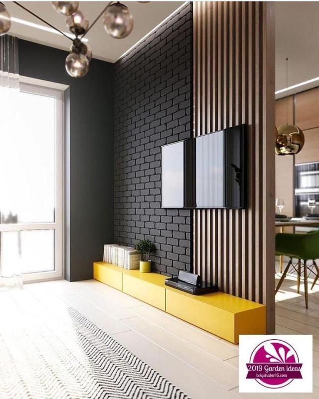 Painel De Tv Cheio De Estilo Amo Amarelo Nos Ambientes E Voces Por Interiores Separator Painel De Tv C Home Living Room Living Room Tv Unit House Interior #separator #for #living #room