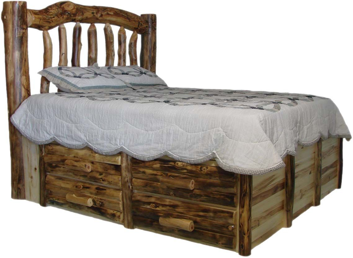 Log furniture aspen log beds headboards and frames Rustic bed frames