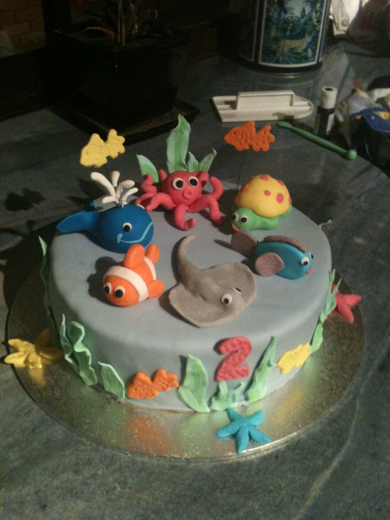 Under the sea. 2nd birthday cake. Fish. Octopus. Whale. Stingray.  Sea.