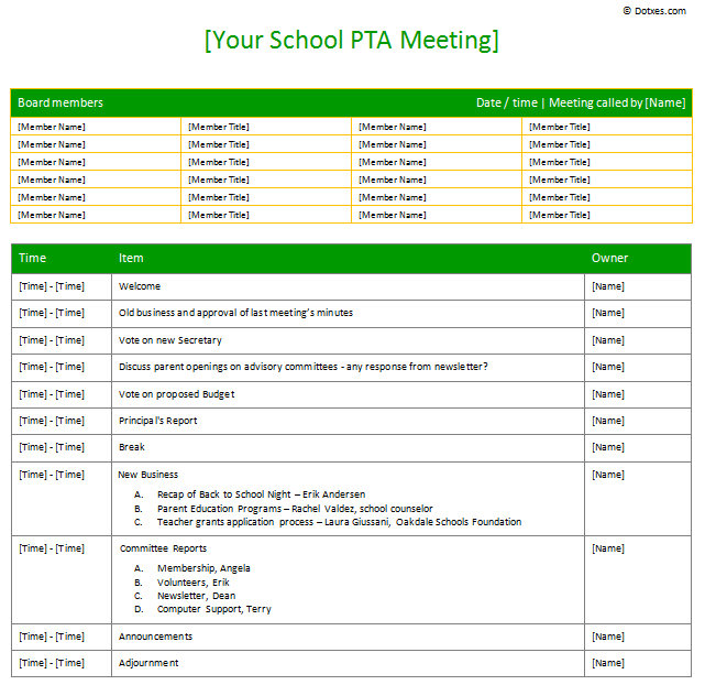 Pta Meeting Agenda Template  Agenda Templates  Dotxes