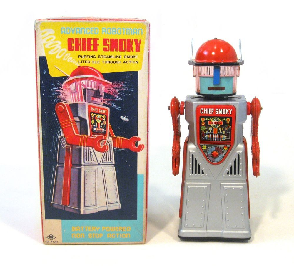 """1960s Tin Japan Space """"CHIEF SMOKY ADVANCED ROBOTMAN"""" EXC in Box Works"""