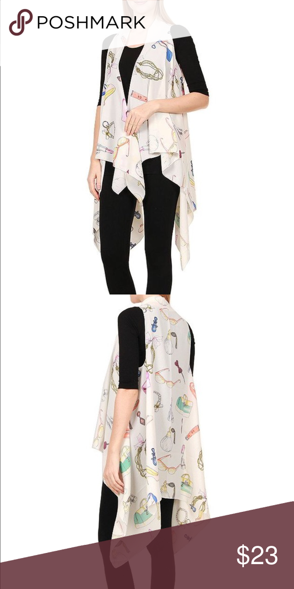 White Beauty Print Chiffon Long Vest 100% Polyester ( Chiffon look like ) Accessories Scarves & Wraps