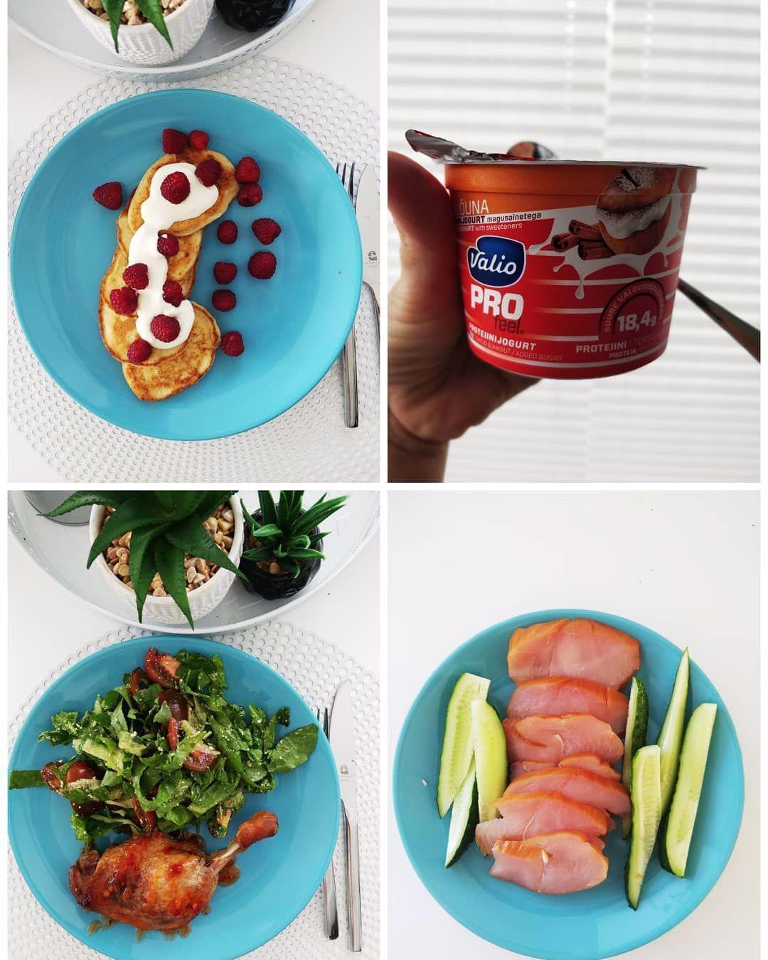 1. Pusryčiai: varškės blynai su nat. jogurtu ir uogom. 2. Priešpiečiai: Proteino jogurtas 3. Pietūs: Anties šlaunelė su salotomis. 4. Rūkyta kalakutienos krūtinėlė, agurkai. #foodphotography #foodstagram #foodblogger #foodoftheday #food #instafood #breakfast #lunch #dinner #easyandhealthy #myfoodjourney #myfoodstory #myfooddiary %