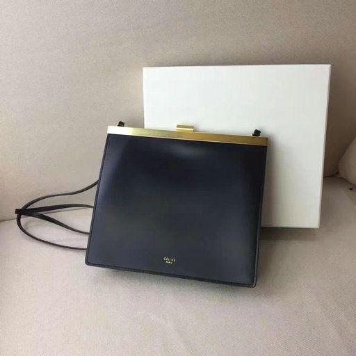 5b17cc579c 2017 Céline Mini Clasp Bag in Black Natural Calfskin Leather