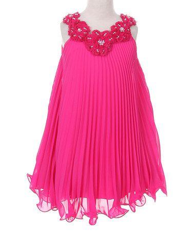 Love this Fuchsia Floral-Detail Yoke Dress - Infant, Toddler & Girls on #zulily! #zulilyfinds