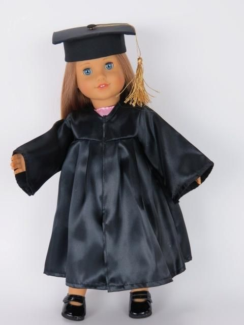 Black cap & graduation gown w pink dress doll clothes made for 18 ...