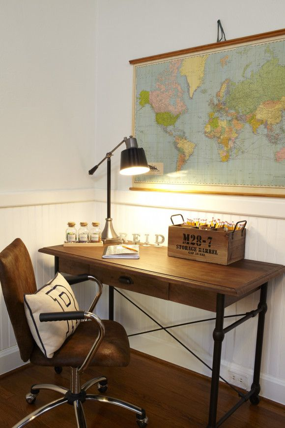 Love this boy room...military, industrial. Exactly the look ...