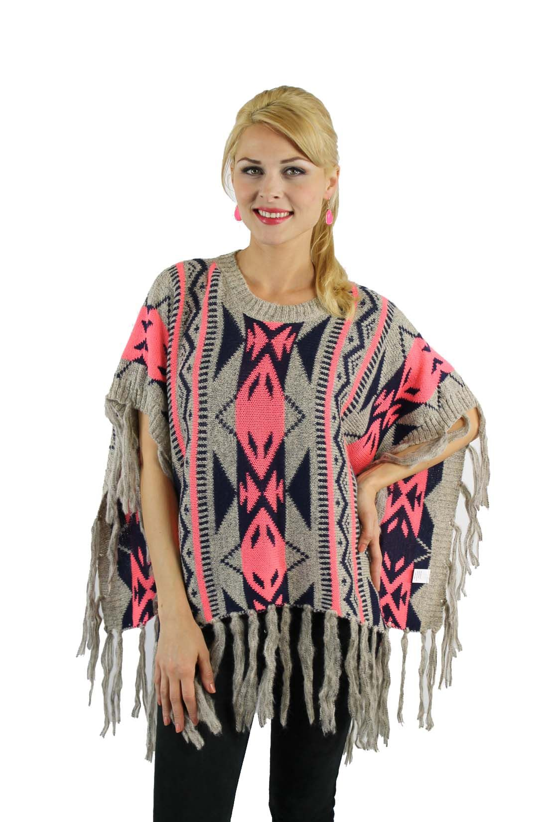 Buy Pink knitted poncho with a southwestern pattern top with ...