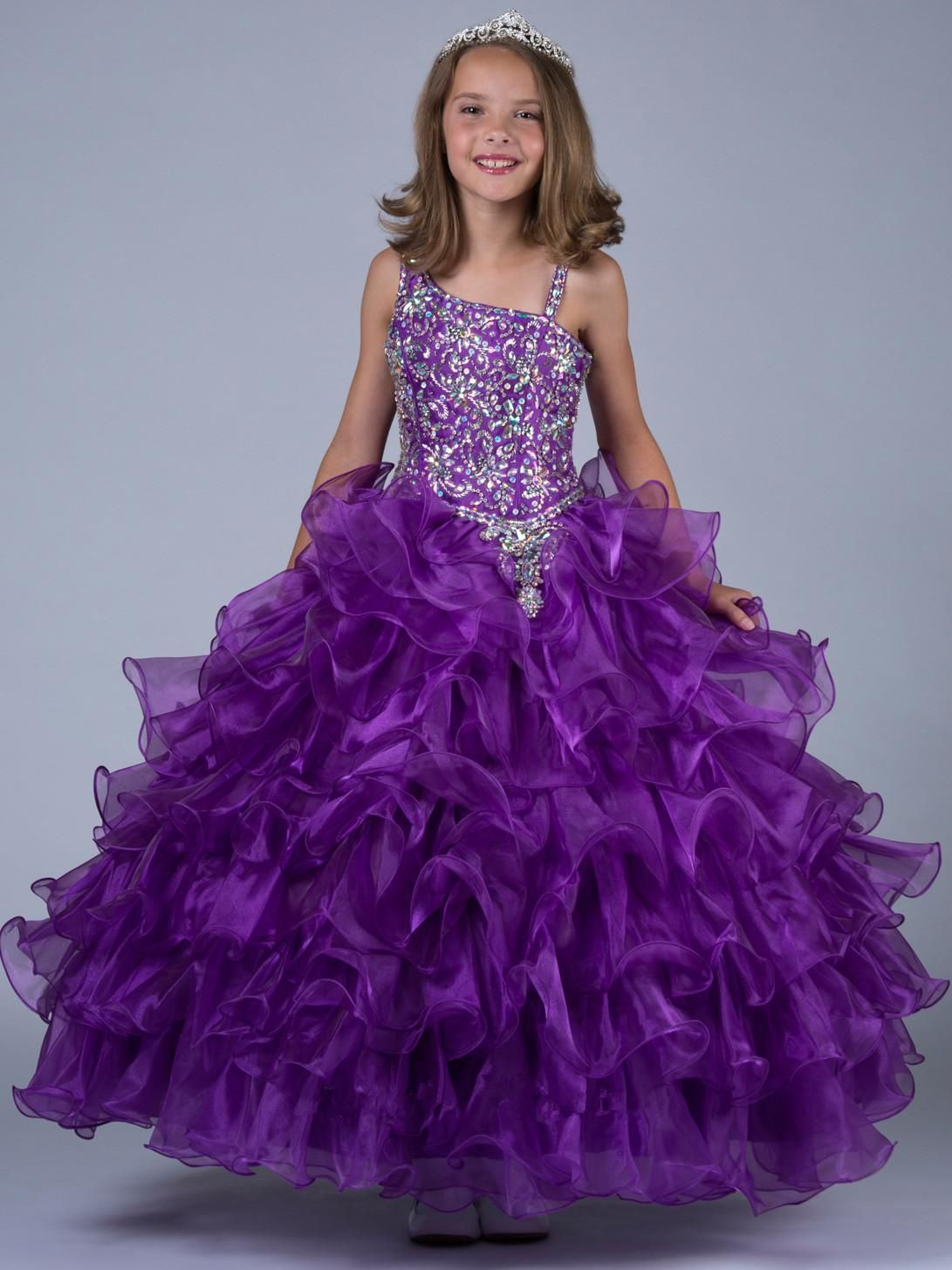 Shoulder beaded flower girl dresses Purple Sequins Ball | Flower ...