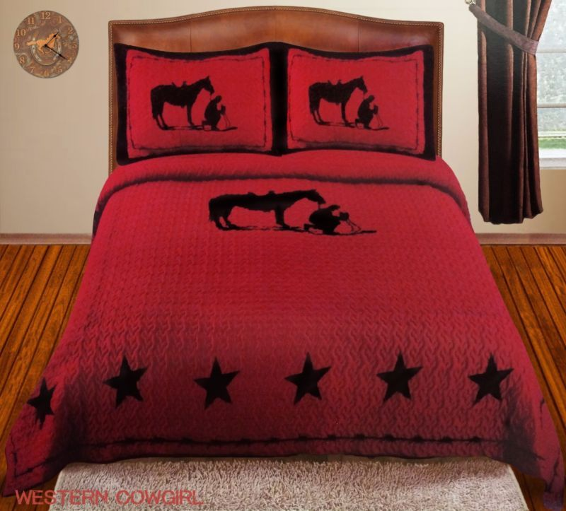 Praying Cowboy Horse Star Western Brown Quilt Bedspread Rustic Burgundy Bed Spreads Luxury Comforter Sets Bed Linens Luxury