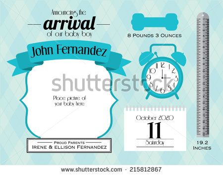 Baby Boy Announcement Card Template VectorIllustration  Useful