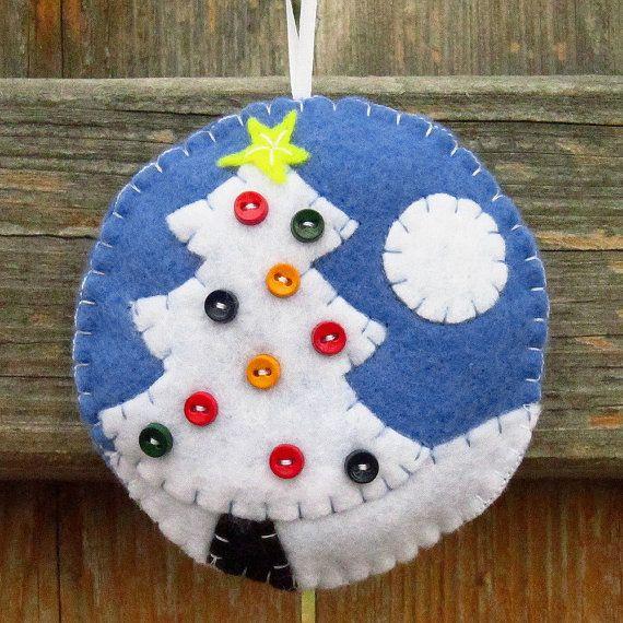 Felt Christmas Ornament Christmas decor Blue and white Rustic