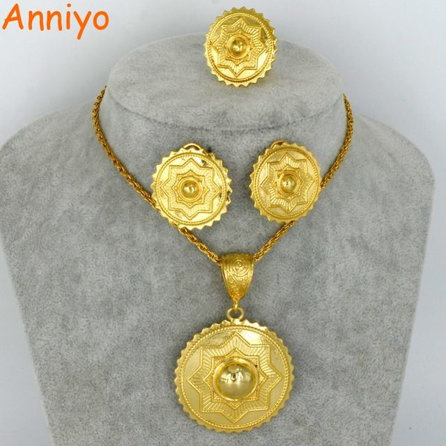 Check Cur Price Anniyo New Ethiopian Gold Color Jewelry Set Habesha Eritrean Necklace Earrings