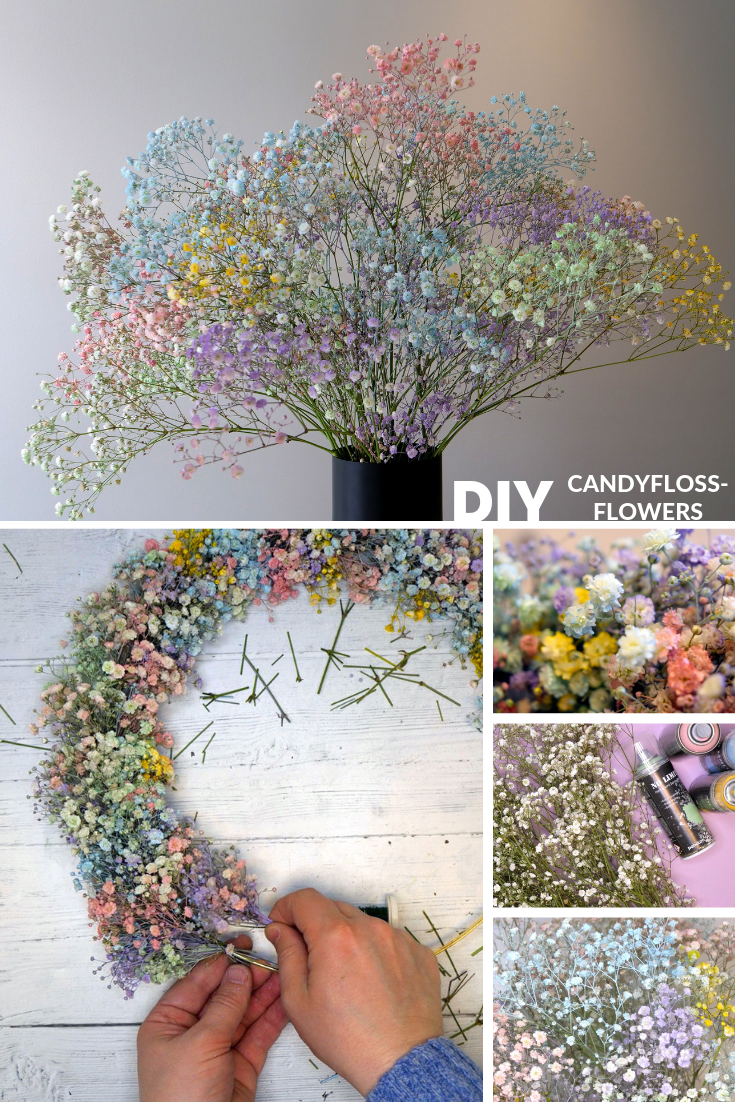 How To Make Candyfloss Flowers Yourself Step By Step Guide To Make These Colourful Rainbow Flowers Bloggerblomst Blo Bryllupsblomster Spraymaling Blomster