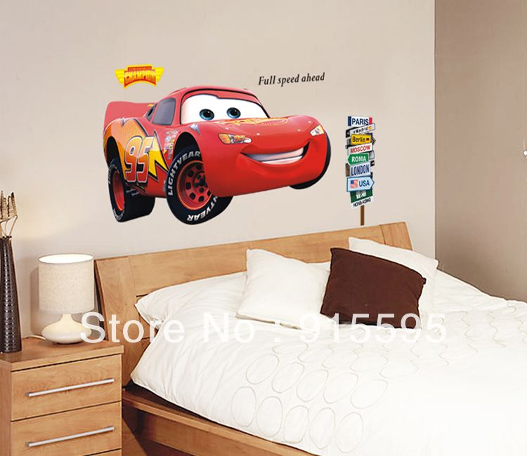 Free Shipping:60*90Cm Large Popular Pixar Car CartoonTransparent PVC Wall  Decals/Wall Nice Design