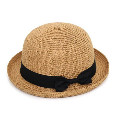 6903d8b899b85 Women Khaki Soft Straw Round Top Fedora Hat Ribbon Bowler 2 inch Floppy Roll  Brim Casual Dome
