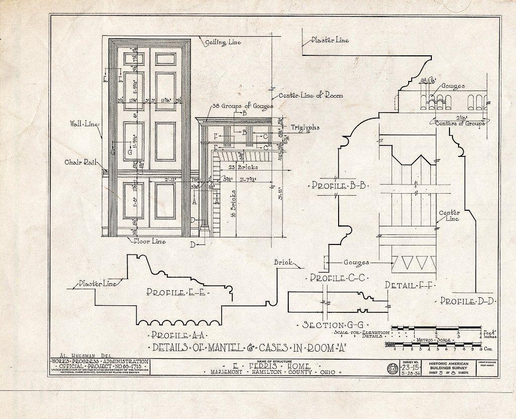 Blueprint HABS Ohio 31 MARMO 1 Sheet 5 of 8 Elithalet Ferris House 3905 Plainville Road Mariemont Hamilton County OH