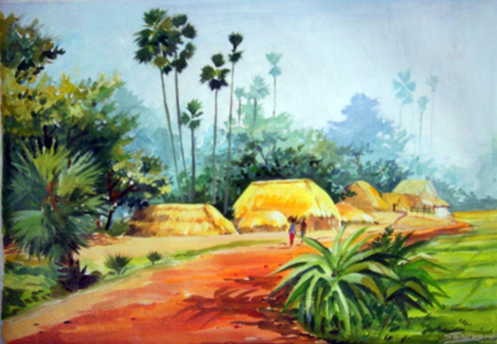 watercolor painting landscape village - Google Search ...