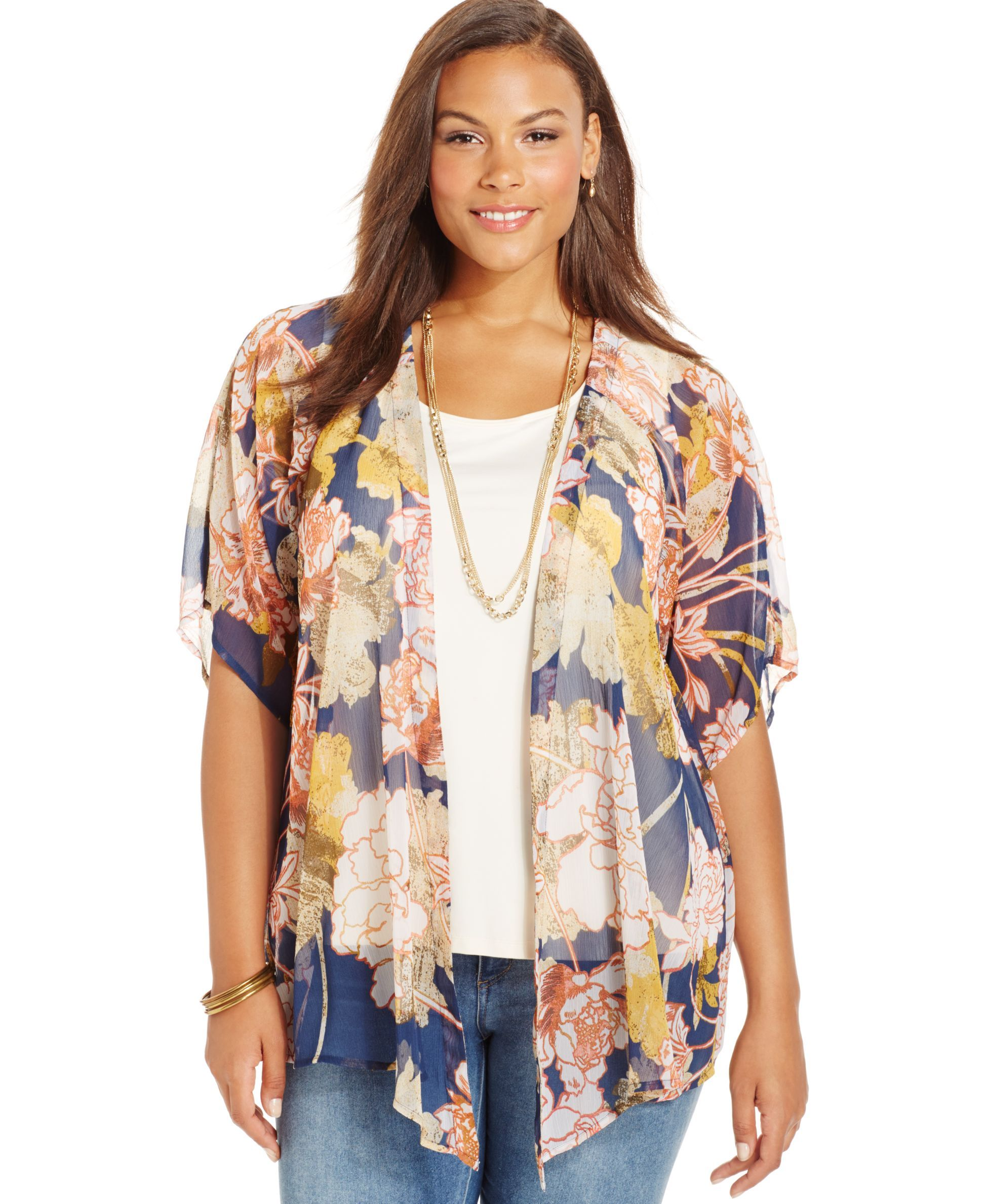 Style&co. Plus Size Floral-Print Kimono Cardigan, Only at Macy's ...