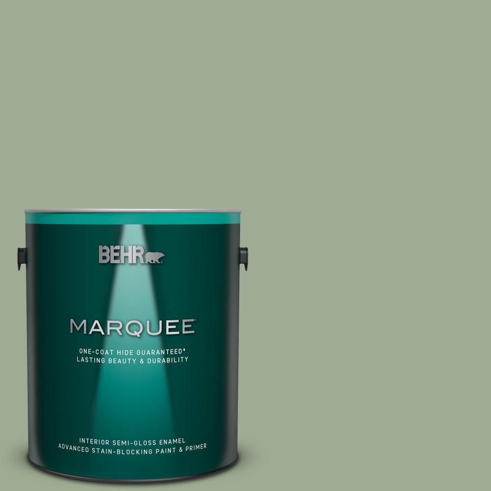 Behr Marquee 1 Gal S390 4 Roof Top Garden One Coat Hide Semi Gloss Enamel Interior Paint And Primer In One Behr Marquee Behr Marquee Paint Interior Paint
